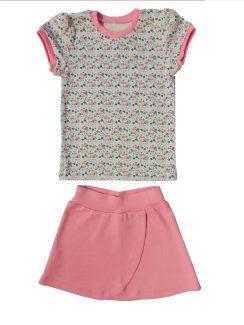 Комплект для девочки (футболка+юбка) Розовый