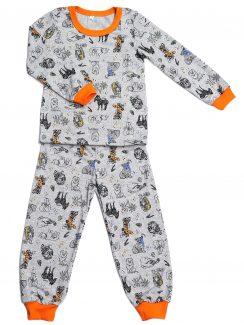 Пижама на манжетах Серый, Зоо